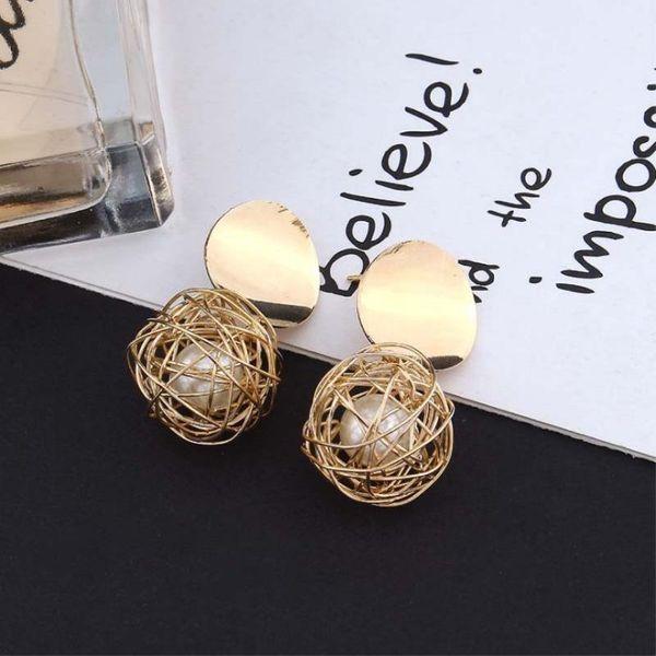 Vintage geometric weaving ball pearl earrings NHPF151878