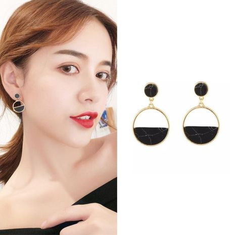 Fashion black turquoise circle earrings NHPF151879's discount tags