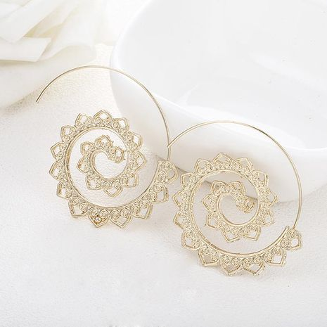 Fashion round spiral gear-shaped alloy hoop earrings NHPF151881's discount tags