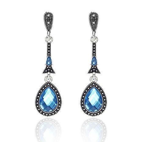 Vintage alloy blue zircon earrings NHPF151885's discount tags
