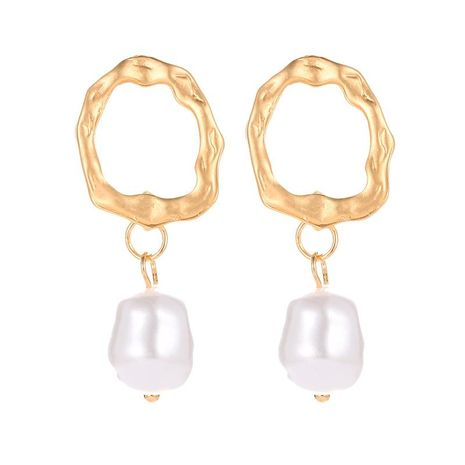 Simple Asian gold geometric wavy pearl earrings NHDP151890's discount tags
