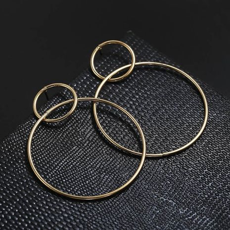 Gold and silver double circle alloy earrings NHPF151892's discount tags