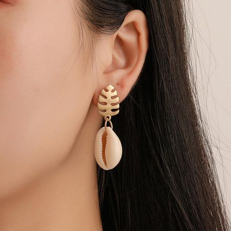 Fashion alloy fish bone shell earrings NHDP151898's discount tags