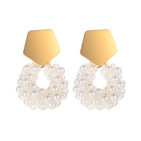 Cute geometric gold pearl earrings NHDP151907's discount tags