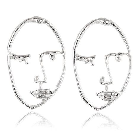 Golden face contour stud earrings NHPF151908's discount tags