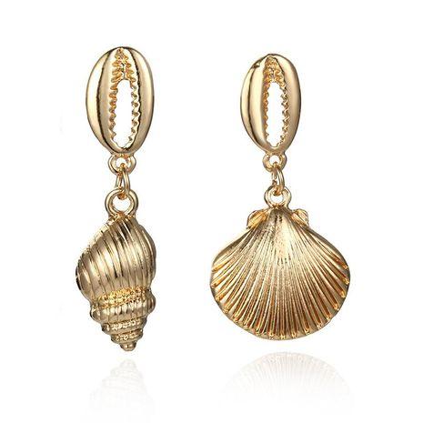 Metal conch scallop asymmetric earrings NHPF151910's discount tags