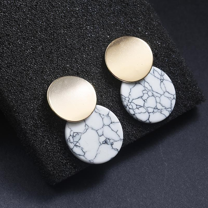 Black and white vintage marble earrings NHPF151913