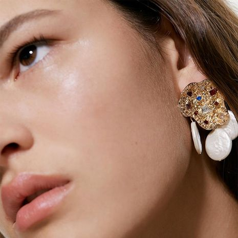 Alloy diamond shaped shaped pearl stitching earrings NHJQ151915's discount tags
