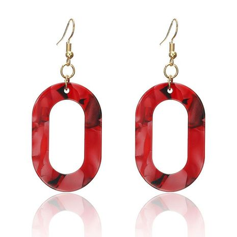 Metal oval hollow colorful stitching earrings NHPF151924's discount tags