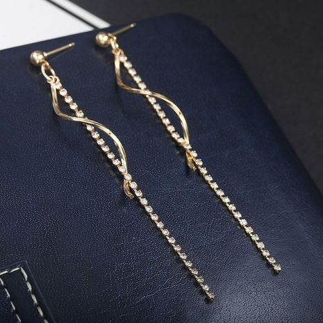 Spiral-studded tassel long earrings NHPF151926's discount tags