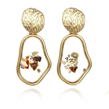New retro shell alloy geometric irregular square earrings NHPF151937's discount tags