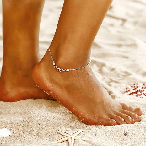 Fashion Pearl Starfish Anklet NHPF151949's discount tags