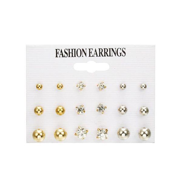 Fashion simple size pearl rhinestone stud earrings set NHPF151984