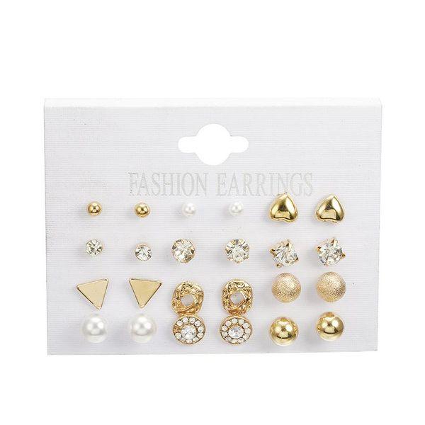 12 pairs square zircon heart shaped stud earrings set NHPF151985