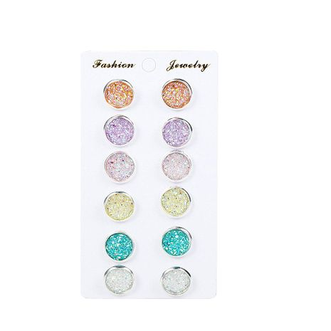 Simple colorful round frosted dream star stud earrings NHPF151988's discount tags