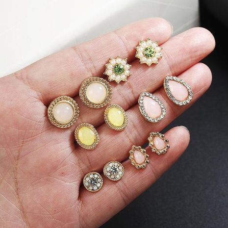 6 pairs of new diamond-studded stud earrings set NHPF151989's discount tags