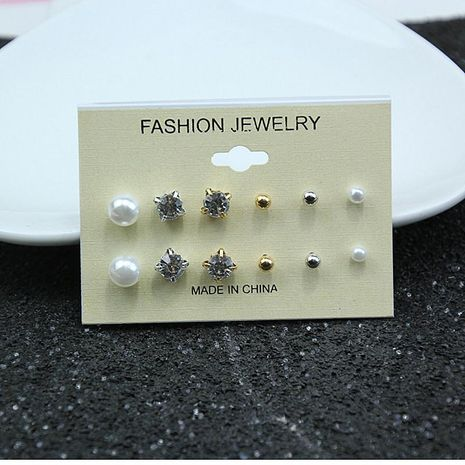 6 pairs pearl diamond earrings set NHPF151993's discount tags