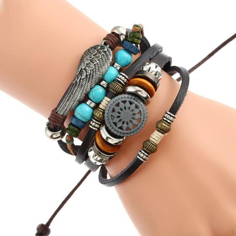 Woven feather leather alloy bracelet NHPK152000's discount tags