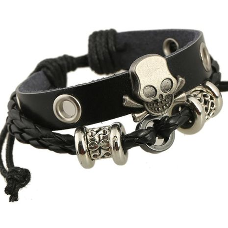 Vintage beaded skull leather bracelet NHPK152004's discount tags
