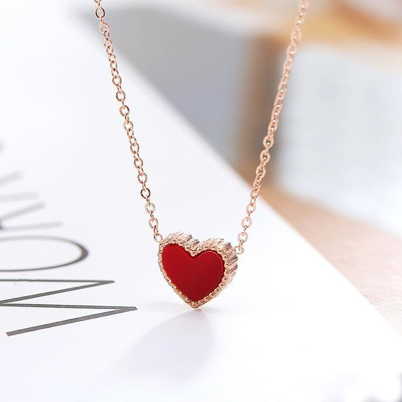 Non-fading hypoallergenic rose gold heart heart love clavicle chain necklace NHIM152007