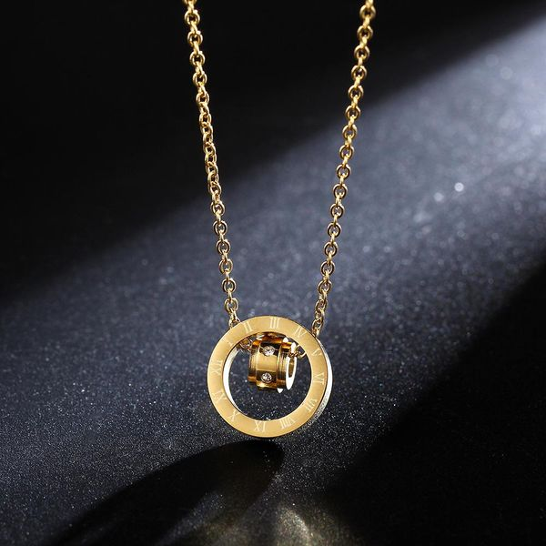 Rose gold titanium steel does not fade clavicle chain necklace NHIM152029