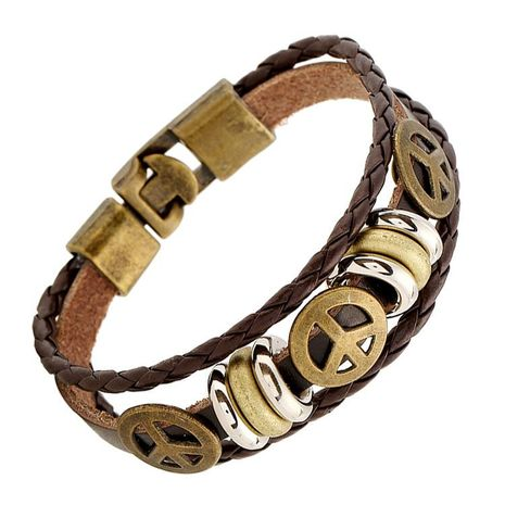 Vintage Alloy Peace Sign Leather Bracelet NHPK152030's discount tags