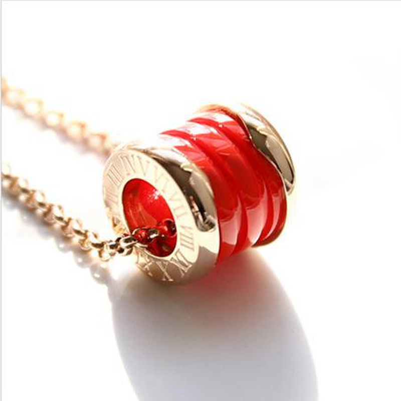 Fashion titanium steel rose gold ceramic cylindrical spring short necklace NHIM152036