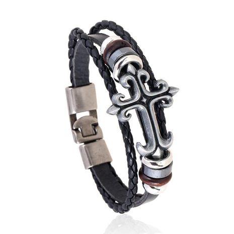 Vintage alloy cross woven leather bracelet NHPK152055's discount tags