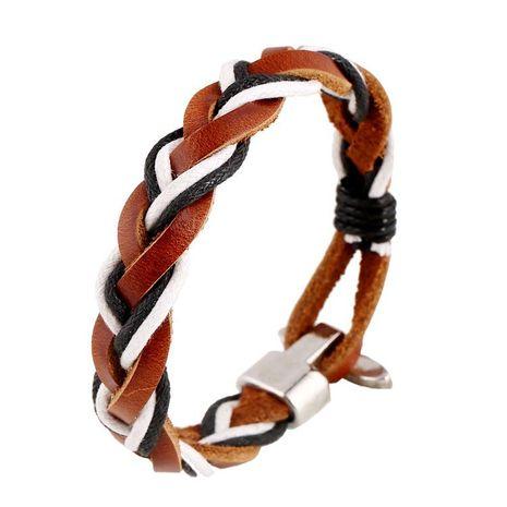 Vintage woven leather bracelet NHPK152078's discount tags