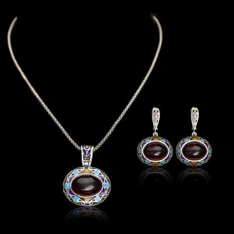 Conjunto de joyas de piedras preciosas artificiales de patrón étnico de moda NHLJ152086's discount tags
