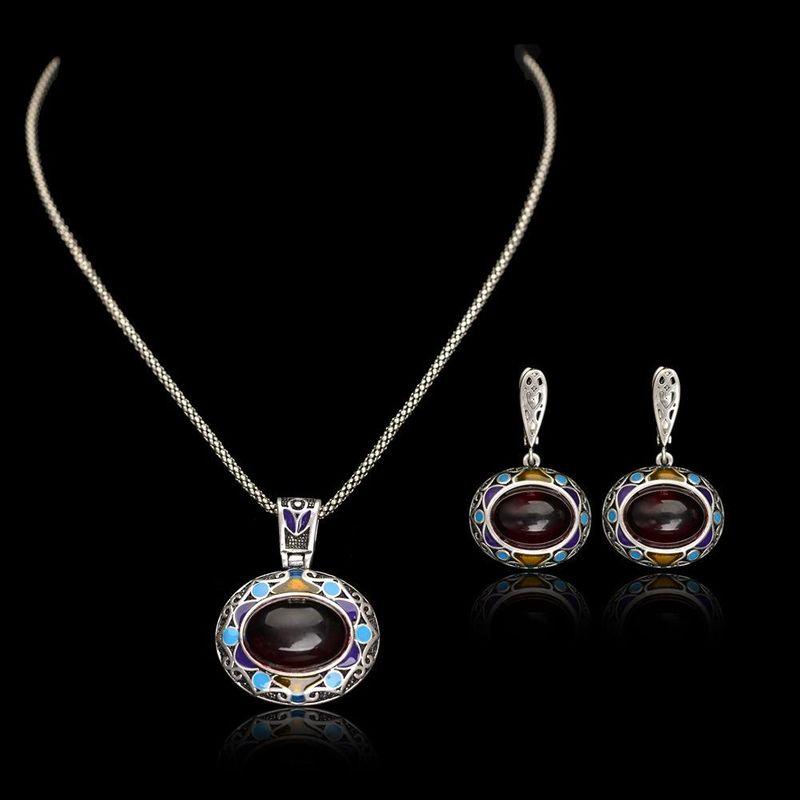 Conjunto de joyas de piedras preciosas artificiales de patrón étnico de moda NHLJ152086
