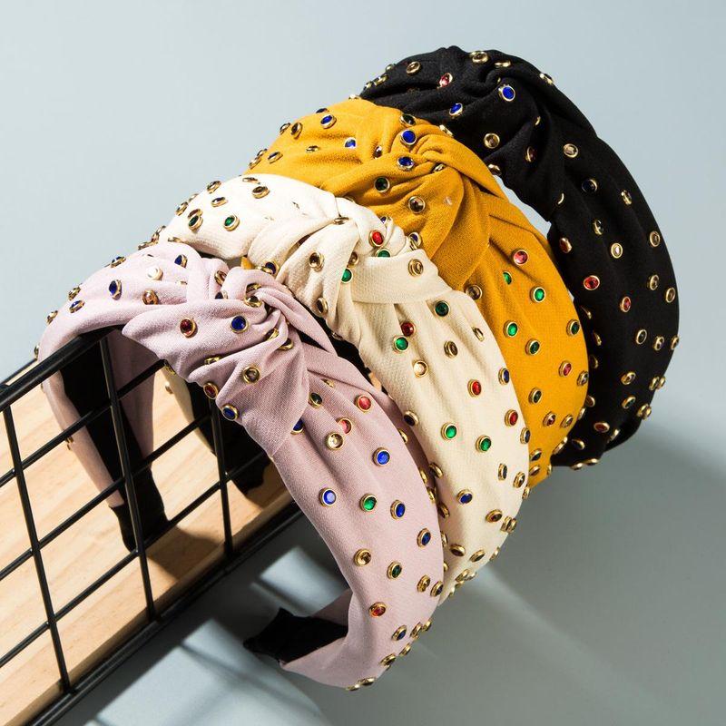 Star Street, viento, mano, perforación en caliente, diamante de color, diadema anudada de ala ancha NHLN152118