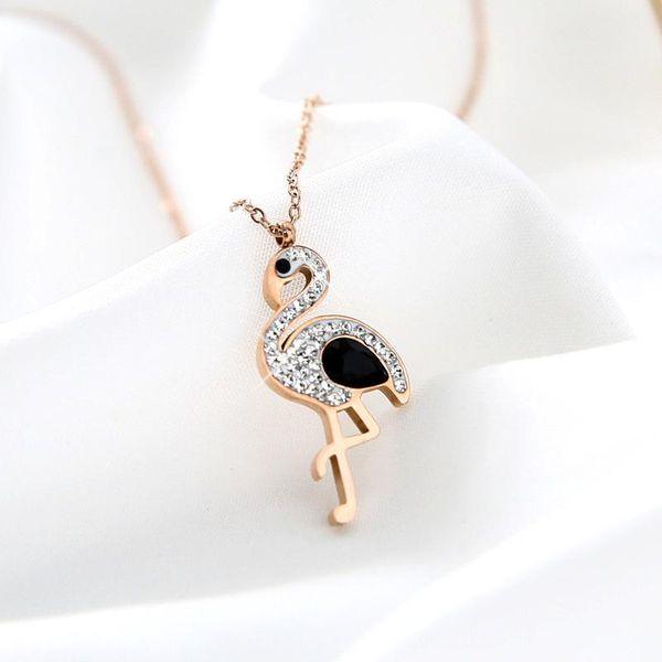 Rose Gold Titan Synthetic Gem Gradient Flamingo Titanium Steel Necklace NHIM152122
