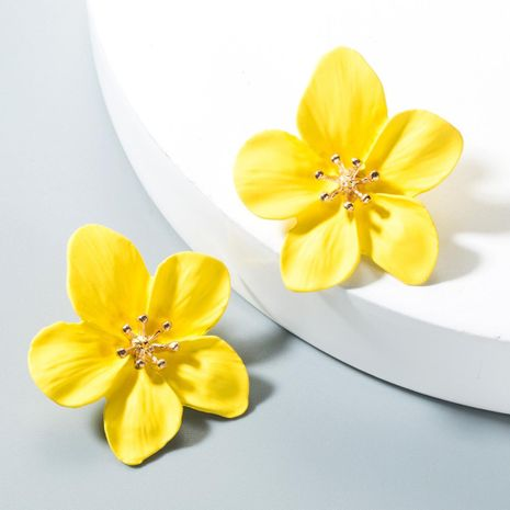 Fashion yellow small fresh petal alloy earrings NHLN152129's discount tags