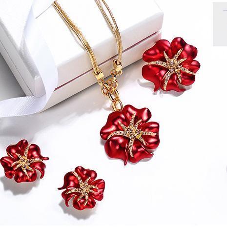 Elegantes y hermosas flores con incrustaciones de flores de alta calidad de tres piezas NHLJ152136's discount tags