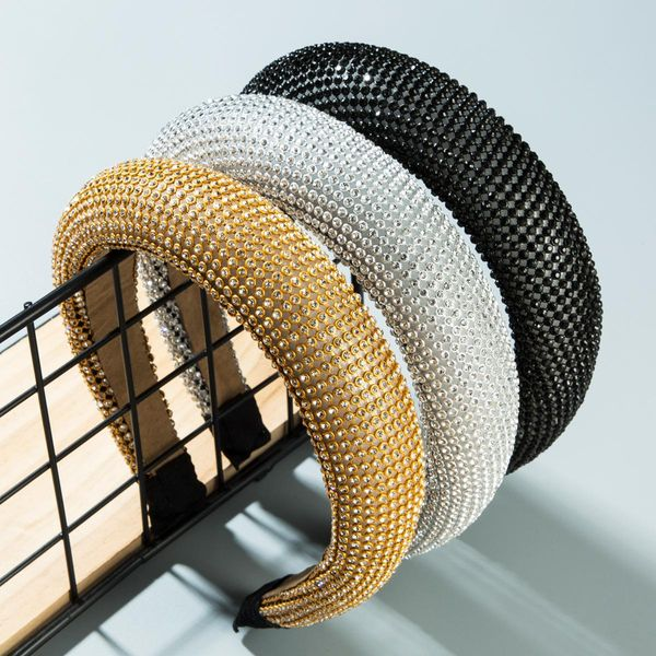 Fashion rhinestone sponge thick wide-brimmed headband NHLN152159