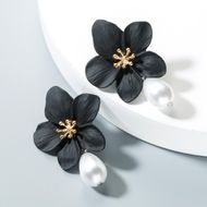 Aretes de aleación de perlas florales para mujer NHLN152161