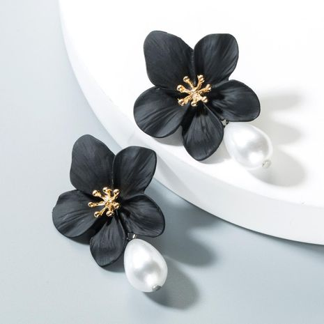 Womens Floral Pearl Alloy Earrings NHLN152161's discount tags