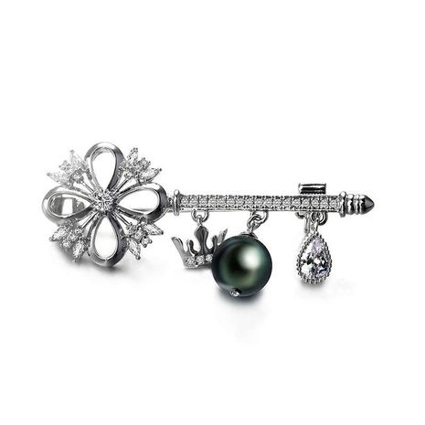 Mind key artificial gemstone pearl brooch NHLJ152162's discount tags