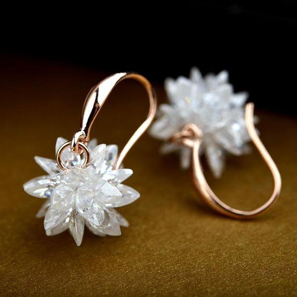 Korean version of pure hot selling crystal flower earrings NHLJ152172