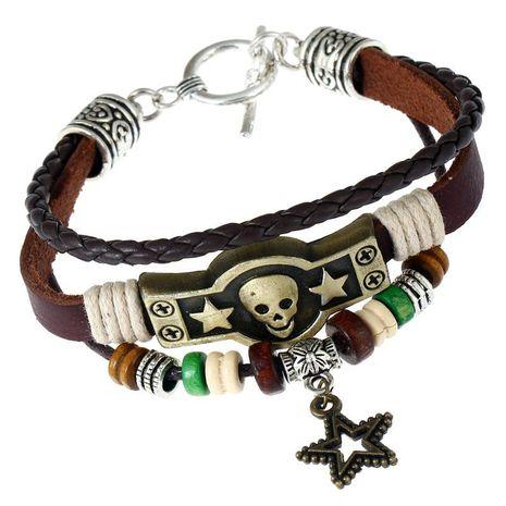 Vintage bronze alloy leather bracelet NHPK152184's discount tags
