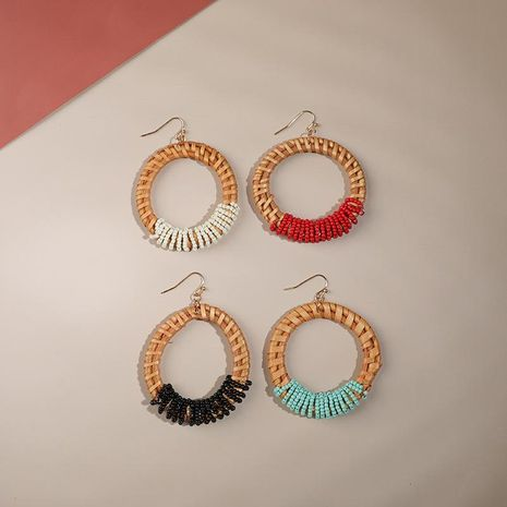 Creative hand-woven rice beads earrings NHLL152188's discount tags
