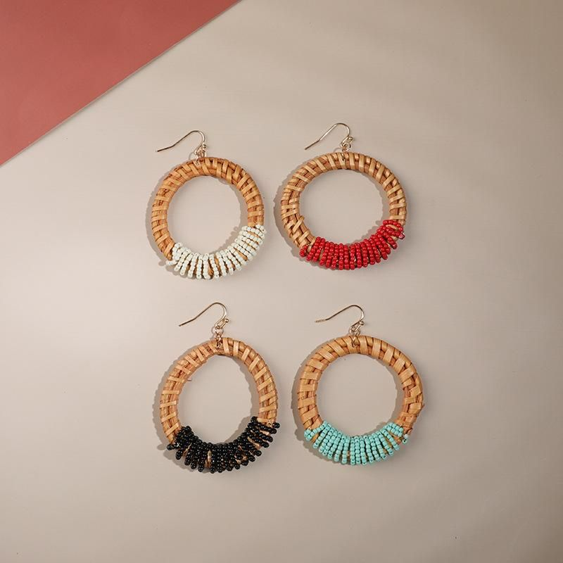 Creative hand-woven rice beads earrings NHLL152188