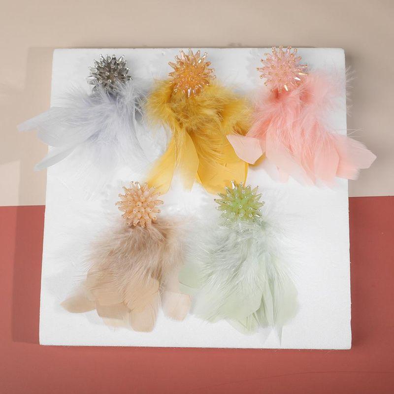 Temperament Crystal Flower Long Feather Tassel Earrings NHLL152196