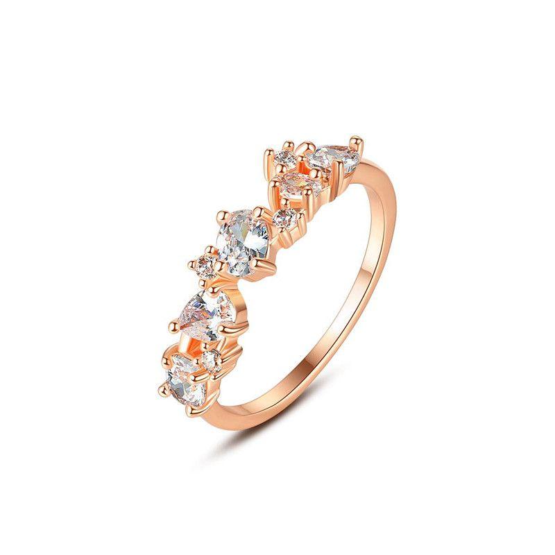 Womens Geometric Copper Inlay Zircon Rings NHTM152202