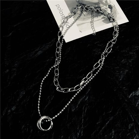 Korea Dongdaemun ring interlocking double chain clavicle chain necklace NHYQ152237's discount tags