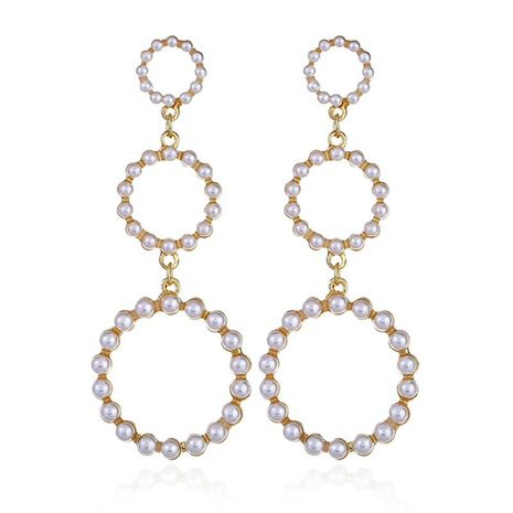 Fashion simple geometric imitation pearl multi-layer ring earrings NHKQ152255's discount tags