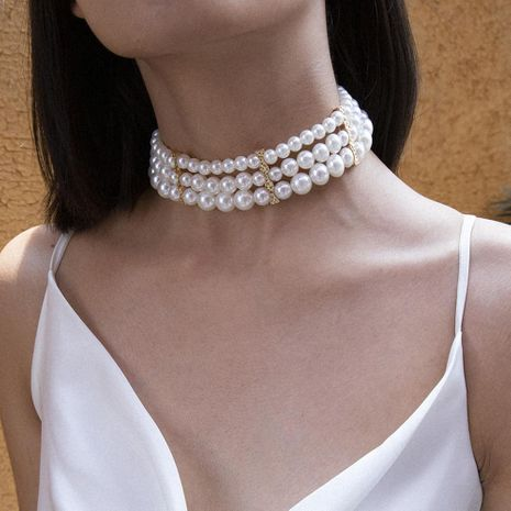Temperament exaggerated multi-layer pearl geometry choker NHXR152256's discount tags