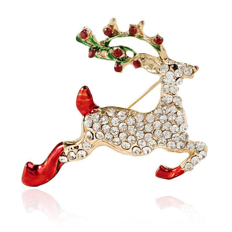 Stylish and elegant cute animal deer with diamond brooch NHKQ152267