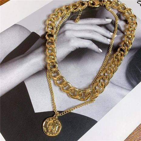 Fashion thick chain double portrait round necklace NHYQ152274's discount tags